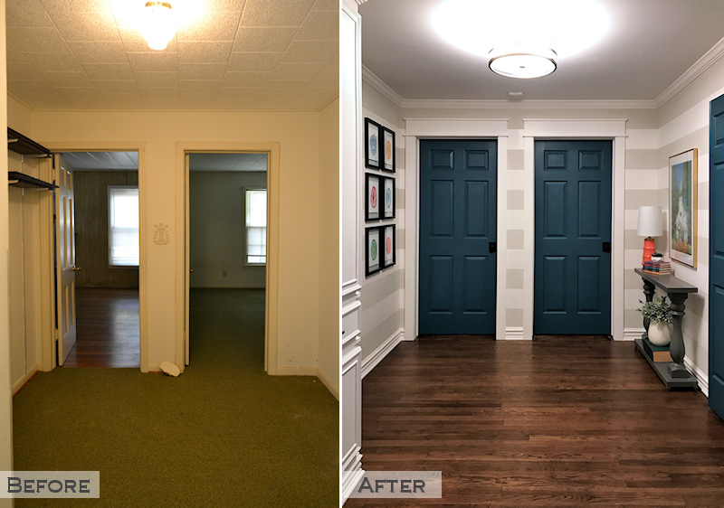 hallway remodel - before and after - striped walls, new doors, teal doors