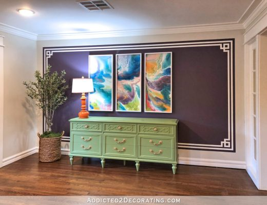 Dark purple Greek key accent wall