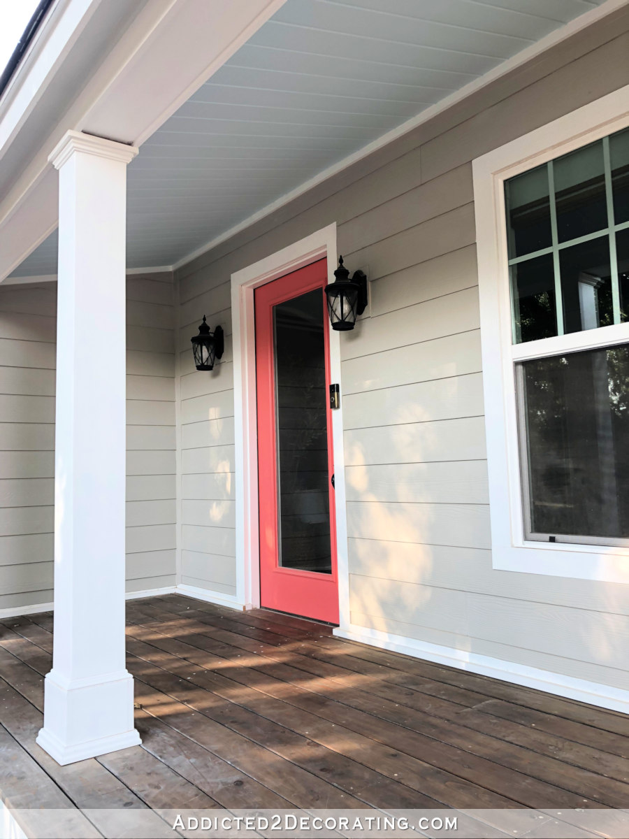 Tongue and groove pine front porch ceiling painted haint blue