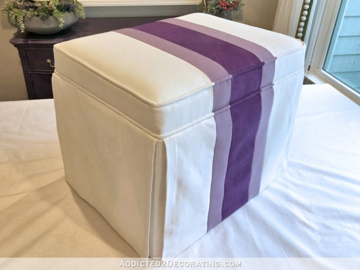how to make a striped skirted upholstered ottoman - 41
