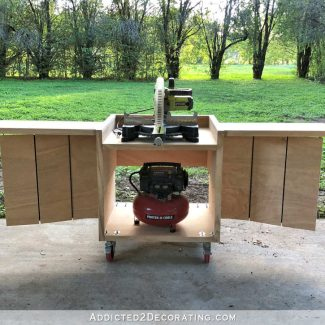 DIY Rolling Miter Saw Table With Expandable Support Side Wings