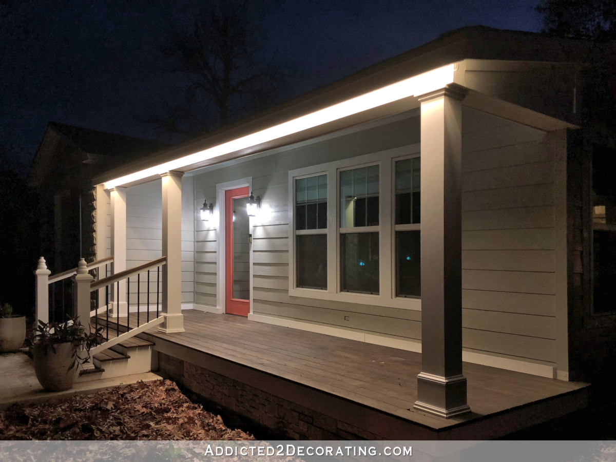LED tape lights outdoors - installed around front porch roof