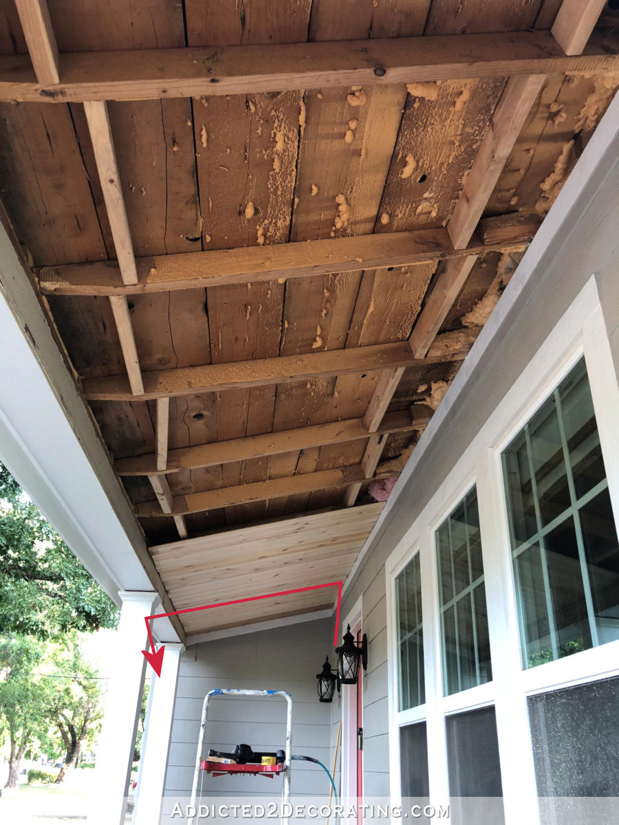 installing LED tape lights around front porch roof - run wire to new location