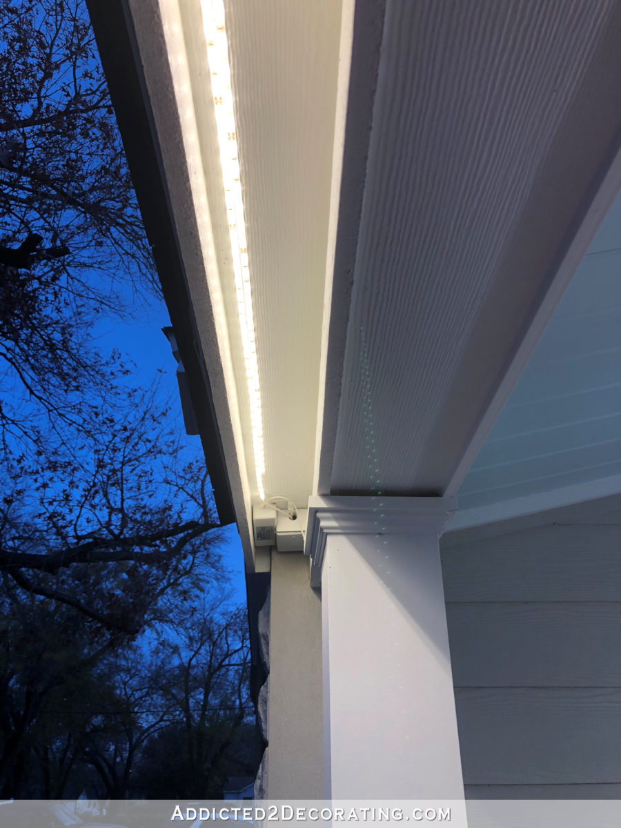 LED tape lights outdoors - installed just behind the fascia board on the roof of the front porch