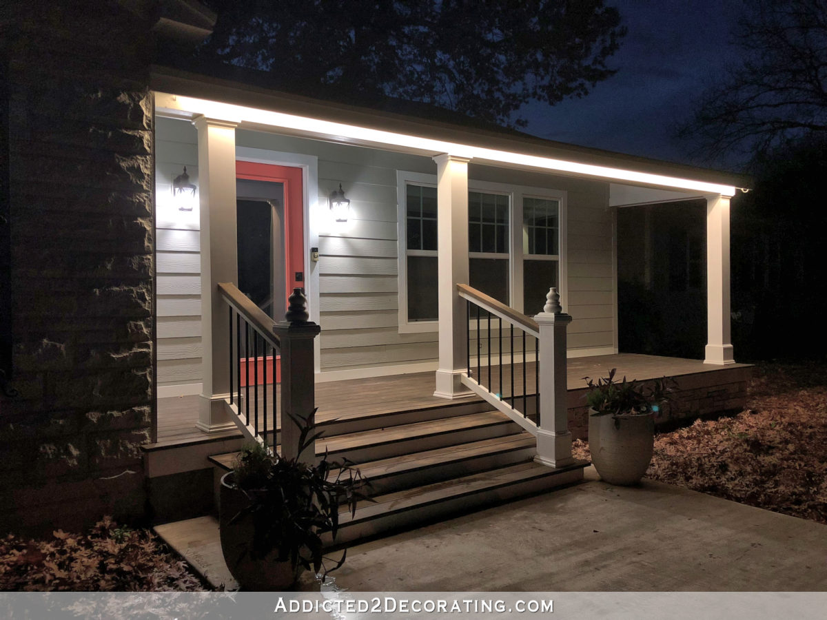 LED tape lights outdoors - installed around the front porch roof