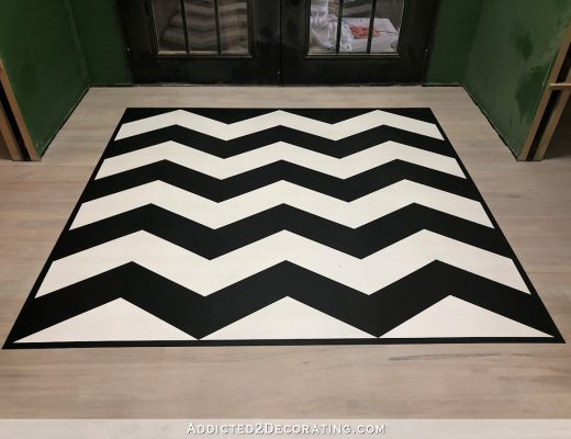 painted black and white chevron floor design - 15